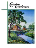 """Houses by Stream,"" Country Gentleman Cover, June 1, 1939 Giclee Print by Walter Baum"
