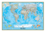 German Classic World Map Prints by  National Geographic Maps
