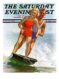 """Ski Boarding Couple,"" Saturday Evening Post Cover, June 27, 1936 Giclee Print by Robert C. Kauffmann"