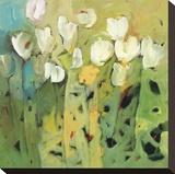 White tulips II Stretched Canvas Print by Jennifer Harwood