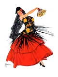"""Flamenco Dancer in Red,""March 14, 1936 Giclee Print by R.J. Cavaliere"