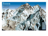 Mt. Everest Map Premium Giclée-tryk af  National Geographic Maps