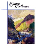 """Mountain Stream Fishing,"" Country Gentleman Cover, May 1, 1938 Giclee Print by Q. Marks"