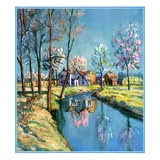 """Landscape of Farm in Springtime,""May 1, 1932 Giclee Print by Walter Baum"