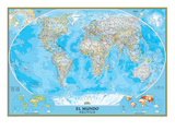 Spanish Classic World Map Affiche par  National Geographic Maps