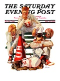 """Cheerleaders after Lost Game,"" Saturday Evening Post Cover, November 18, 1939 Giclee Print by Lonie Bee"