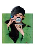"""Elegant Lady Drinking Cup of Tea,""February 20, 1926 Giclee Print by Penrhyn Stanlaws"