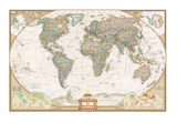 French Executive World Map Prints by  National Geographic Maps