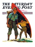 """Canoe Portage,"" Saturday Evening Post Cover, March 24, 1934 Giclee Print by Eugene Iverd"