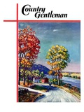 """Walking on Country Road,"" Country Gentleman Cover, October 1, 1939 Giclee Print by Walter Baum"