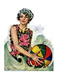 """Bathing Beauty and Beach Ball,""August 7, 1926 Giclee Print by Ellen Pyle"