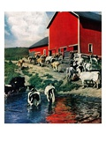 """When the Cows Come Home,""August 1, 1948 Giclee Print by J. Julius Fanta"