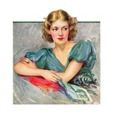 """Woman in Teal,""March 11, 1933 Giclee Print by Marland Stone"