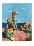 """Girl Scouts at Sea Shore,""July 1, 1932 Giclee Print by Frank Bensing"