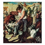 """""""Calf Roping Contest,""""October 1, 1948 Giclee Print by W.C. Griffith"""
