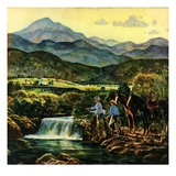 """Cowboys Fishing in Stream,""June 1, 1950 Giclee Print by Peter Hurd"