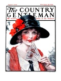 &quot;Woman with Fan,&quot; Country Gentleman Cover, August 1, 1925 Giclee Print by J. Knowles Hare