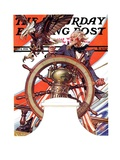 """""""Uncle Sam at the Helm,"""" Saturday Evening Post Cover, July 4, 1936 Giclee Print by J.C. Leyendecker"""