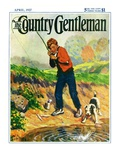 """He's Got a Fish!,"" Country Gentleman Cover, April 1, 1927 Giclee Print by George Brehm"