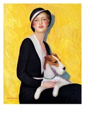 """Woman and Airedale,""May 13, 1933 Giclee Print by Charles W. Dennis"
