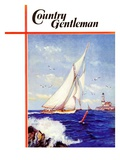 """Sailing by the Lighthouse,"" Country Gentleman Cover, August 1, 1938 Giclee Print by Albert B. Marks"