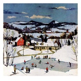 """Skating on Farm Pond,""January 1, 1950 Giclee Print by Paul Sample"