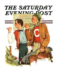 """Hitchhiking to State U.,"" Saturday Evening Post Cover, September 23, 1939 Giclee Print"