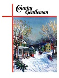 """Christmas Day in the Village,"" Country Gentleman Cover, December 1, 1938 Giclee Print by Walter Baum"