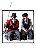 """Old Men Fishing,""July 12, 1924 Giclee Print by Harold Brett"
