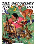 """Artist and Animals,"" Saturday Evening Post Cover, May 26, 1934 Giclee Print by Joseph Christian Leyendecker"