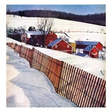 """Snowy Farm Scene,""February 1, 1949 Giclee Print by Caroloa Rust"