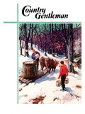 """Harvesting Maple Sap,"" Country Gentleman Cover, March 1, 1940 Giclee Print by B. Summers"