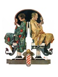 """Couple in Barber Chairs,""May 10, 1930 Giclee Print by Elbert Mcgran Jackson"