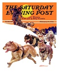 """Eskimo and Dog Sled,"" Saturday Evening Post Cover, February 29, 1936 Giclee Print by Maurice Bower"