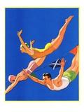 """Diving Women and Man,""August 1, 1932 Giclee Print by John Newton Howitt"