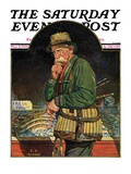 &quot;Fishing at the Market,&quot; Saturday Evening Post Cover, May 2, 1931 Giclee Print by J.F. Kernan