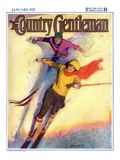 """Downhill Skiing,"" Country Gentleman Cover, January 1, 1927 Giclee Print by McClelland Barclay"