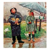 """Waiting for Bus in Rain,""April 1, 1948 Giclee Print by Austin Briggs"