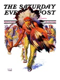 """Dancing Warrior,"" Saturday Evening Post Cover, April 4, 1936 Giclee Print by William Henry Dethlef Koerner"