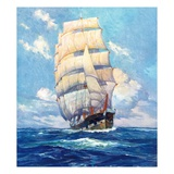 """Three Masted Schooner,""March 1, 1932 Giclee Print by Anton Otto Fischer"