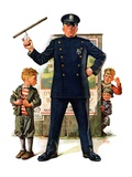 """Policeman and Boy with Slingshot,""March 15, 1930 Giclee Print by Frederic Stanley"