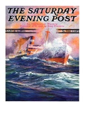 """Wave Breaks over Steamer,"" Saturday Evening Post Cover, March 21, 1936 Giclee Print by Anton Otto Fischer"