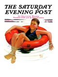"""Boy in Inner Tube,"" Saturday Evening Post Cover, August 1, 1936 Giclee Print by Eugene Iverd"