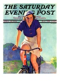 """Woman on a Bike,"" Saturday Evening Post Cover, April 28, 1934 Giclee Print by John Newton Howitt"