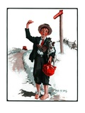 """Hitchhiking Boy,""May 23, 1925 Giclee Print by Angus MacDonall"