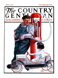 """Pedal Car at Gas Pump,"" Country Gentleman Cover, June 9, 1923 Giclee Print by F. Lowenheim"