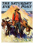 """Miner and Donkeys,"" Saturday Evening Post Cover, May 27, 1933 Giclee Print by William Henry Dethlef Koerner"