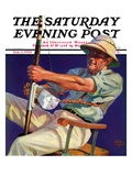"""Deep Sea Fisherman,"" Saturday Evening Post Cover, February 2, 1935 Giclee Print by Edgar Franklin Wittmack"