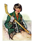 """Girl Hockey Player,""January 22, 1927 Giclee Print by Ellen Pyle"