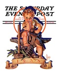 """Baby New Year at Forge,"" Saturday Evening Post Cover, January 1, 1938 Giclee Print by Joseph Christian Leyendecker"